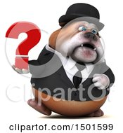 Clipart Of A 3d Business Or Gentleman Bulldog Holding A Question Mark On A White Background Royalty Free Illustration