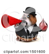 Clipart Of A 3d Business Or Gentleman Bulldog Holding A Blood Drop On A White Background Royalty Free Illustration
