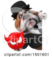 Clipart Of A 3d Business Or Gentleman Bulldog Holding A Devil On A White Background Royalty Free Illustration