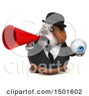 Clipart Of A 3d Business Or Gentleman Bulldog Holding An Eyeball On A White Background Royalty Free Illustration