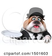 Clipart Of A 3d Business Or Gentleman Bulldog Holding A Plate On A White Background Royalty Free Illustration