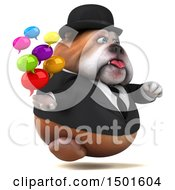 Clipart Of A 3d Business Or Gentleman Bulldog Holding Messages On A White Background Royalty Free Illustration