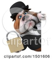Clipart Of A 3d Business Or Gentleman Bulldog Holding A Padlock On A White Background Royalty Free Illustration