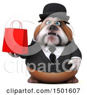 3d Business Or Gentleman Bulldog Holding A Shopping Bag On A White Background