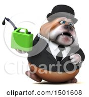 Clipart Of A 3d Business Or Gentleman Bulldog Holding A Gas Can On A White Background Royalty Free Illustration