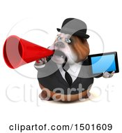 Clipart Of A 3d Business Or Gentleman Bulldog Holding A Tablet Computer On A White Background Royalty Free Illustration