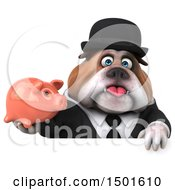 Clipart Of A 3d Business Or Gentleman Bulldog Holding A Piggy Bank On A White Background Royalty Free Illustration