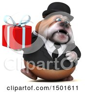 Clipart Of A 3d Business Or Gentleman Bulldog Holding A Gift On A White Background Royalty Free Illustration