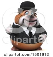 Clipart Of A 3d Business Or Gentleman Bulldog Holding A Thumb Up On A White Background Royalty Free Illustration