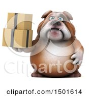 Clipart Of A 3d Bulldog Holding Boxes On A White Background Royalty Free Illustration