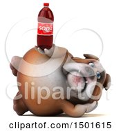 Clipart Of A 3d Bulldog Holding A Soda On A White Background Royalty Free Illustration