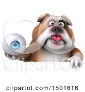 Clipart Of A 3d Bulldog Holding An Eyeball On A White Background Royalty Free Illustration