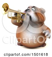 Clipart Of A 3d Bulldog Playing A Trumpet On A White Background Royalty Free Illustration