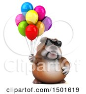 Clipart Of A 3d Bulldog Holding Balloons On A White Background Royalty Free Illustration