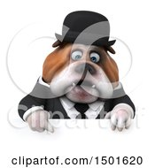 Clipart Of A 3d Bulldog Gentleman On A White Background Royalty Free Illustration