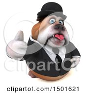 Clipart Of A 3d Bulldog Gentleman Giving A Thumb Up On A White Background Royalty Free Illustration