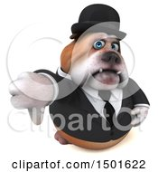Clipart Of A 3d Bulldog Gentleman Giving A Thumb Down On A White Background Royalty Free Illustration