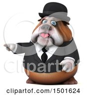 Clipart Of A 3d Bulldog Gentleman Pointing On A White Background Royalty Free Illustration