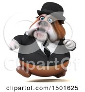 Clipart Of A 3d Bulldog Gentleman Running On A White Background Royalty Free Illustration