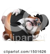 Clipart Of A 3d Bulldog Gentleman Resting On A White Background Royalty Free Illustration