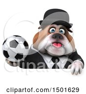 3d Gentleman Or Business Bulldog Holding A Soccer Ball On A White Background