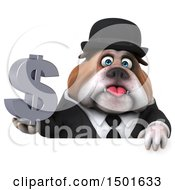 Clipart Of A 3d Gentleman Or Business Bulldog Holding A Dollar Symbol On A White Background Royalty Free Illustration