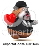 Clipart Of A 3d Gentleman Or Business Bulldog Holding A Heart On A White Background Royalty Free Illustration