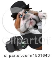Clipart Of A 3d Gentleman Or Business Bulldog Holding A Camera On A White Background Royalty Free Illustration