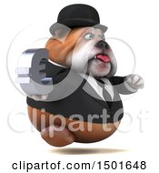 Clipart Of A 3d Gentleman Or Business Bulldog Holding A Euro Symbol On A White Background Royalty Free Illustration