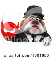Clipart Of A 3d Gentleman Or Business Bulldog Holding A Devil Head On A White Background Royalty Free Illustration