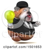 Clipart Of A 3d Gentleman Or Business Bulldog Holding A Light Bulb On A White Background Royalty Free Illustration
