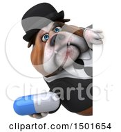 Clipart Of A 3d Gentleman Or Business Bulldog Holding A Pill On A White Background Royalty Free Illustration