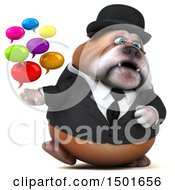 3d Gentleman Or Business Bulldog Holding Messages On A White Background