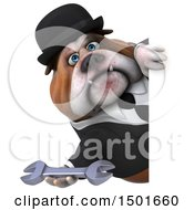 Clipart Of A 3d Gentleman Or Business Bulldog Holding A Wrench On A White Background Royalty Free Illustration