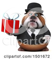 Clipart Of A 3d Gentleman Or Business Bulldog Holding A Gift On A White Background Royalty Free Illustration