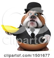 Clipart Of A 3d Gentleman Or Business Bulldog Holding A Banana On A White Background Royalty Free Illustration