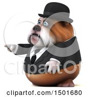 Clipart Of A 3d Gentleman Or Business Bulldog Pointing On A White Background Royalty Free Illustration