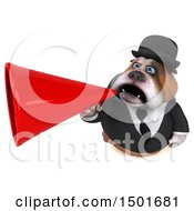 3d Gentleman Or Business Bulldog Using A Megaphone On A White Background