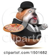 Clipart Of A 3d Business Bulldog Holding A Pizza On A White Background Royalty Free Illustration