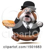 Clipart Of A 3d Business Bulldog Holding A Hot Dog On A White Background Royalty Free Illustration