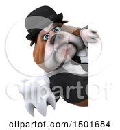 Clipart Of A 3d Business Bulldog Holding A Tooth On A White Background Royalty Free Illustration