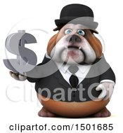 Clipart Of A 3d Business Bulldog Holding A Dollar Symbol On A White Background Royalty Free Illustration
