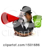 Clipart Of A 3d Business Bulldog Holding A Recycle Bin On A White Background Royalty Free Illustration