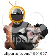 Clipart Of A 3d Business Bulldog Holding A Tv On A White Background Royalty Free Illustration