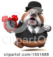 Clipart Of A 3d Business Bulldog Holding An Alarm Clock On A White Background Royalty Free Illustration