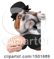 Clipart Of A 3d Business Bulldog Holding A Brain On A White Background Royalty Free Illustration
