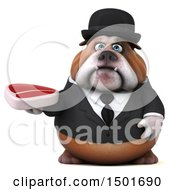 Clipart Of A 3d Business Bulldog Holding A Steak On A White Background Royalty Free Illustration