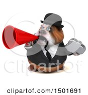 Clipart Of A 3d Business Bulldog Holding A Cloud On A White Background Royalty Free Illustration