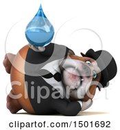 Clipart Of A 3d Business Bulldog Holding A Water Drop On A White Background Royalty Free Illustration