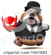 Clipart Of A 3d Business Bulldog Holding A Devil On A White Background Royalty Free Illustration